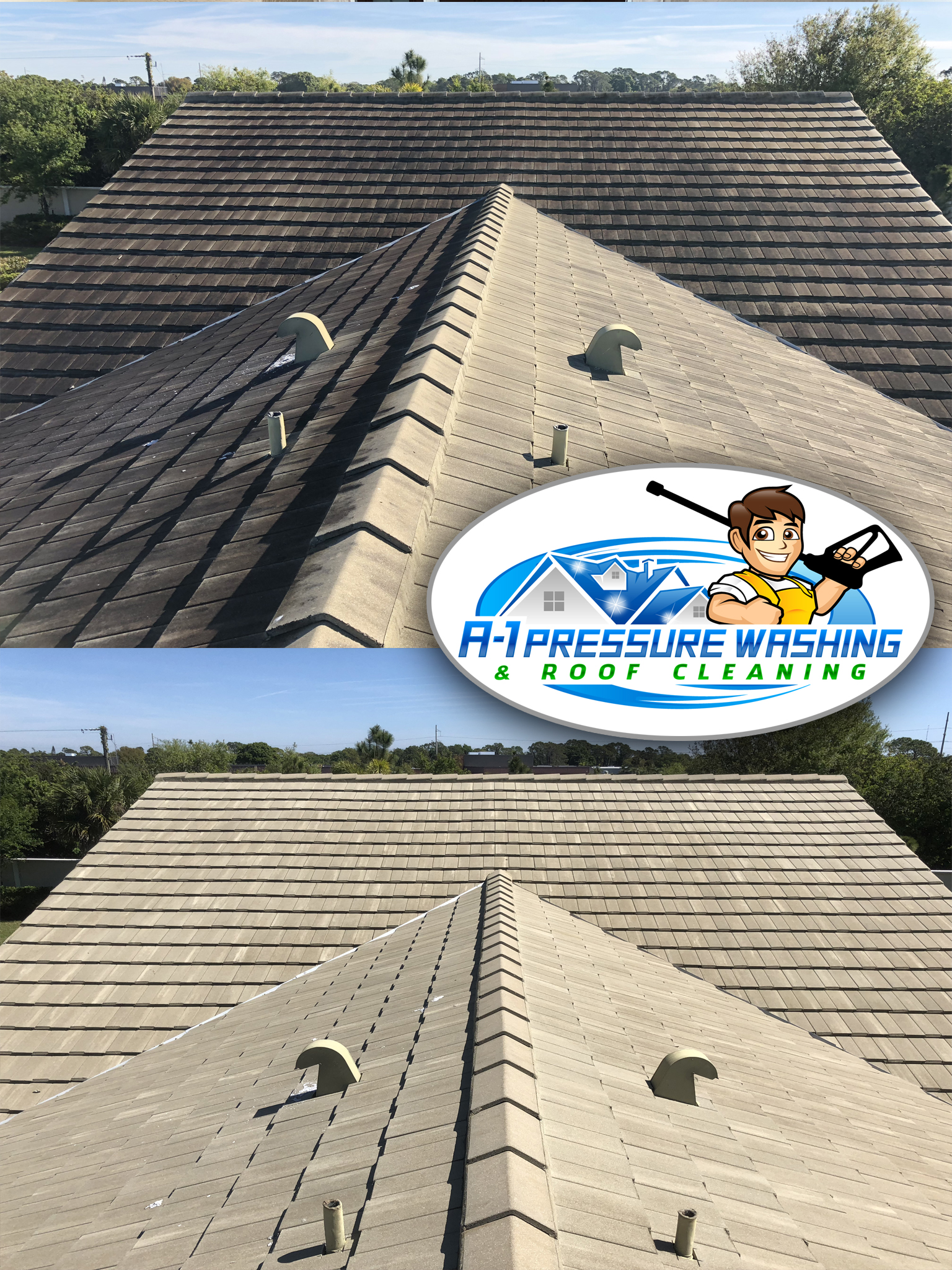 a 1 pressure washing roof cleaning